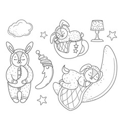 set of sleeping bunnies doodle style line art vector image