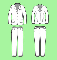 Simple outline drawing a blazers and pants vector