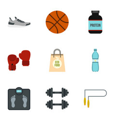 sport icons set flat style vector image