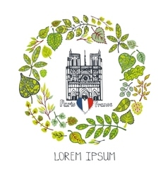 Spring in ParisGreen Leaves wreathNotre Dame vector