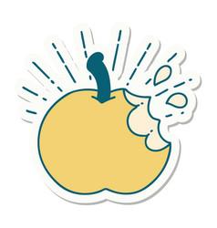 Sticker tattoo style bitten apple vector