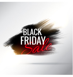 stylish black friday sale poster with paint brush vector image