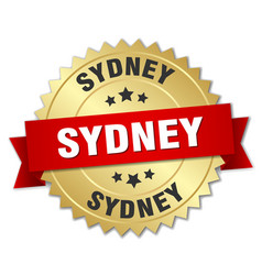 sydney round golden badge with red ribbon vector image