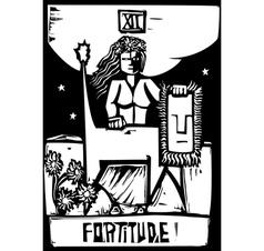 Tarot card fortitude vector