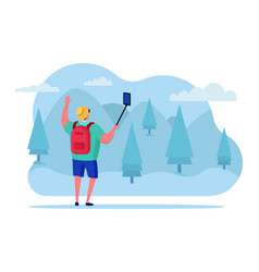 Travel blogging online outdoor park streaming vector