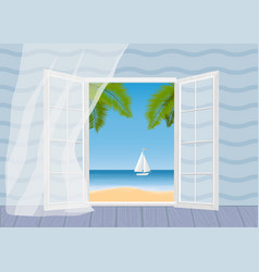 tropical beach palm trees and ship vector image