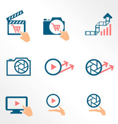 Video and photo bicolor flat icons vector image