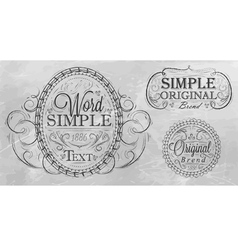 Vintage frame with ornaments gray background vector image
