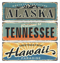 vintage tin sign collection with us alaska vector image