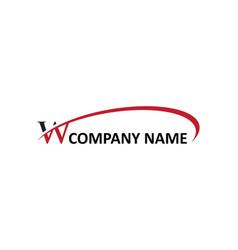 W letter swoosh logo vector