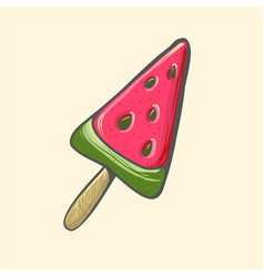 Watermelon popsicle ice cream pop vector