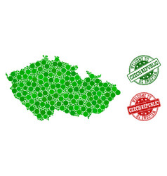 welcome composition of map of czech republic and vector image
