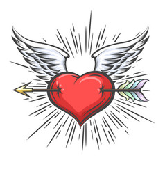 winged heart pierced arrow tattoo vector image