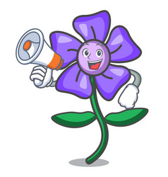 With megaphone periwinkle flower character cartoon vector