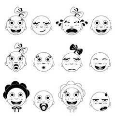 baby face set vector image vector image