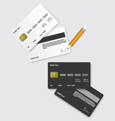 Credit card black and white vector image