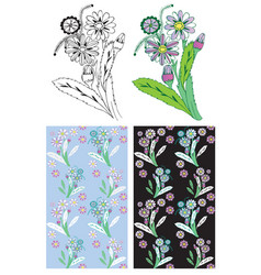 flower and plant background vector image vector image