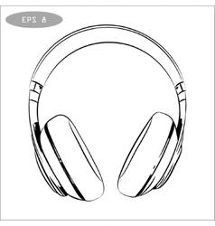 hand-drawn sketch of headphones vector image