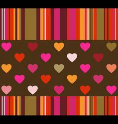 hearts and stripes background vector image vector image