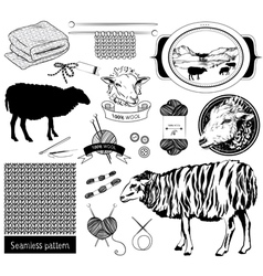 sketch objects sheep silhouette tools for knitting vector image