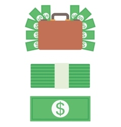 Briefcase full of money vector image