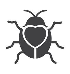 cute flying ladybug heart shape with bug vector image vector image