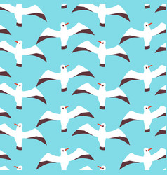 Flat atlantic seabirds seamless pattern vector