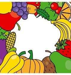 fruits and vegetables frame vector image