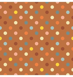 Polka dots on brown background seamless pattern vector image