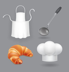chef hat kitchen apron ladle and bread vector image