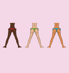 different nations girls buttocks and legs sexy vector image