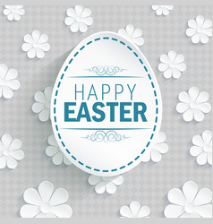 easter egg on flowers background vector image vector image