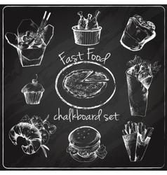 Fast food icon chalkboard vector image