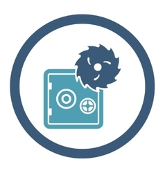 Hacking theft flat cyan and blue colors rounded vector