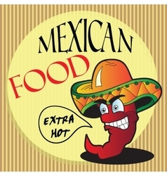 Mexican pepper cartoon character vector image