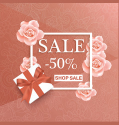 Sale banner design with roses and frame vector