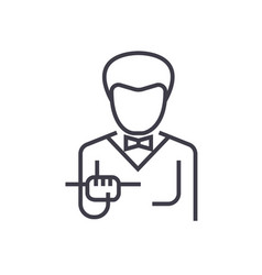 waiter with food tray line icon sign vector image vector image