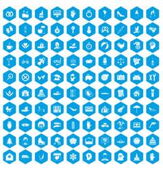 100 joy icons set blue vector image vector image