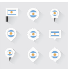 argentina flag and pins for infographic and map vector image vector image