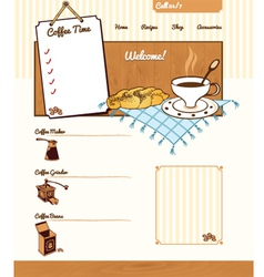 Coffee theme for web site vector image vector image