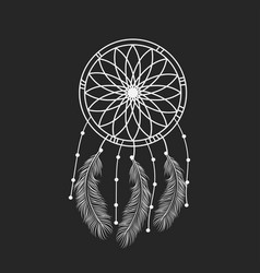 dream catcher graphic in black and white vector image