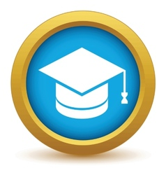 Gold graduate cap icon vector image