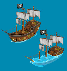 old classic pirate ship on water and flooded vector image vector image