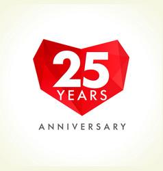 25 anniversary heart logo vector image