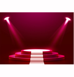 Abstract round podium with white carpet vector