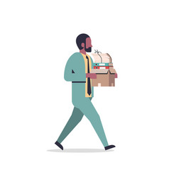 african american businessman carrying paper box vector image