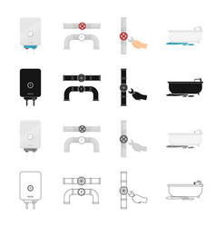 appliances plumbing tools and other web icon in vector image vector image