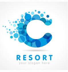 aqua c resort logo vector image