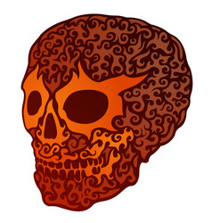 beautiful art with isolated decorative red skull vector image