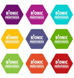Bionic prosthesis icons set 9 vector